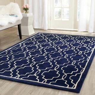 Safavieh Handmade Moroccan Chatham Dark Blue/ Ivory Wool Rug (4' x 6')