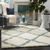 Safavieh Dallas Shag Ivory/ Light Blue Trellis Rug - 8'6 x 12'