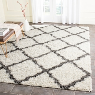 Safavieh Dallas Shag Ivory/ Dark Grey Trellis Rug (8'6 x 12')
