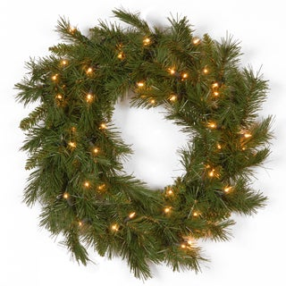 24-inch Winchester Pine Wreath with Clear Lights