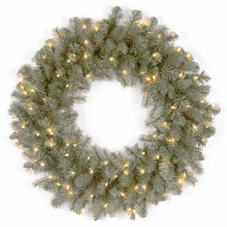 24-inch Frasier Grande Wreath with Clear Lights (Option: Blue)