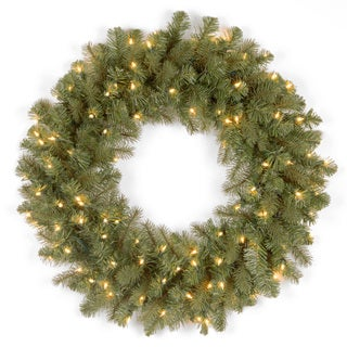 26-inch Downswept Douglas Wreath with Clear Lights