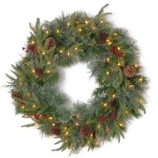24-inch Downswept Douglas Wreath with Clear Lights