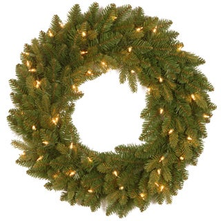 30-inch Colonial Wreath with Clear Lights