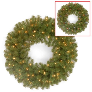24-inch Pine Cone Wreath with Clear Lights