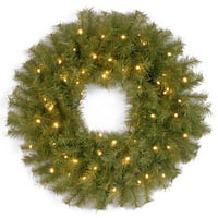 24-inch Norwood Fir Wreath with Battery Operated Warm White LED Lights