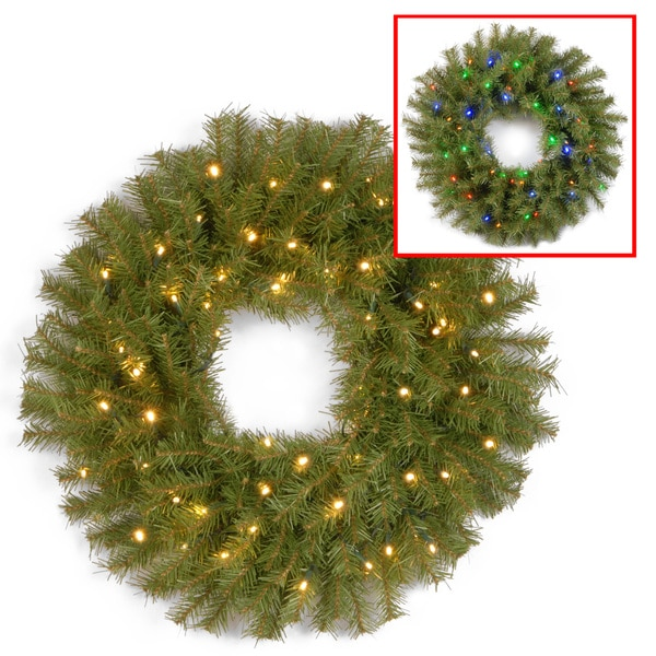 shop 24 inch norwood fir wreath with battery operated warm white led lights on sale free. Black Bedroom Furniture Sets. Home Design Ideas