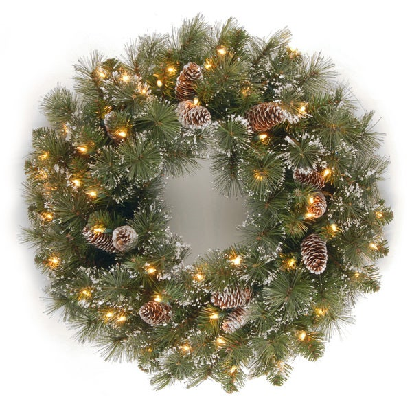 24-inch White Rattan Wreath with Clear Lights