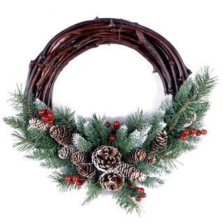 24-inch Glittery Bristle Pine Wreath