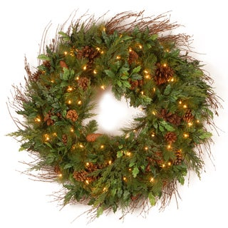 77-inch Decorative Collection Triple Wreath Door Hang with Clear Lights