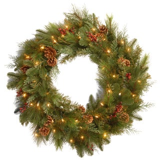 36-inch Decorative Collection Elegance Wreath with Clear Lights