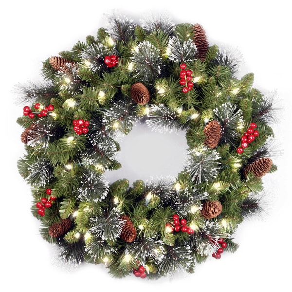 National Tree Company Crestwood Spruce 24-inch Wreath with Clear Lights