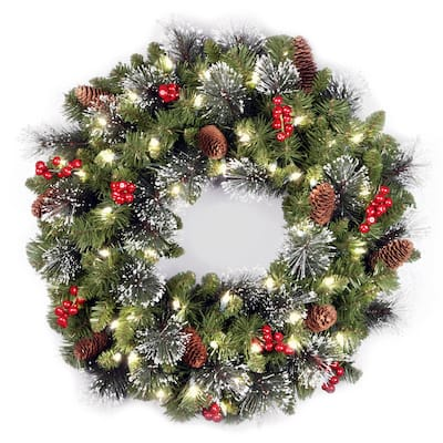 24-inch Holiday Spruce Wreath with Clear Lights