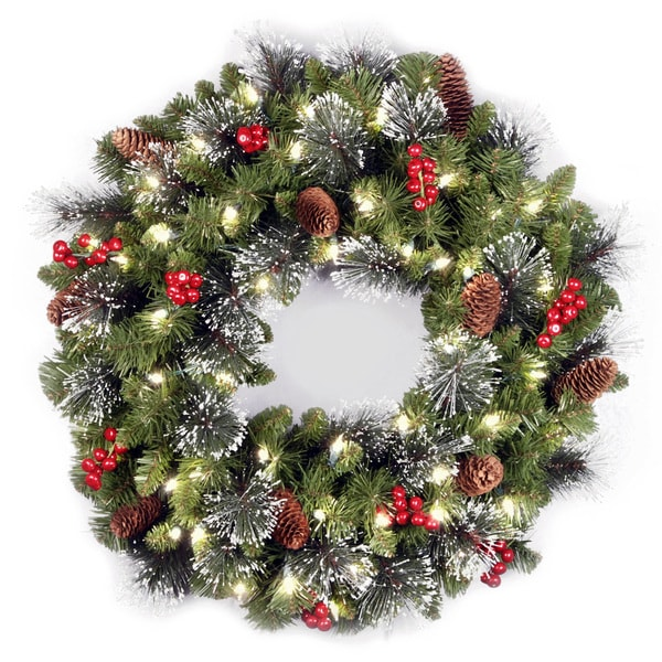 24-inch Holiday Spruce Wreath with Clear Lights. Opens flyout.