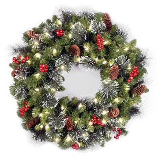 24 inch crestwood spruce wreath with clear lights
