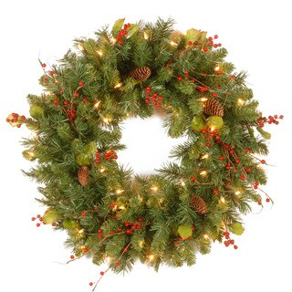 30-inch Crystal Spruce Wreath with Clear Lights