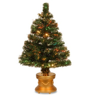 32-inch Fiber Optic Radiance Firework Tree and Gold Base- Multi Checkered Wheel