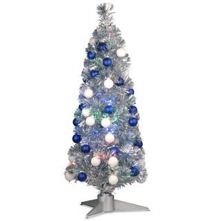 36-inch Fiber Optic Fireworks Silver Tinsel Tree