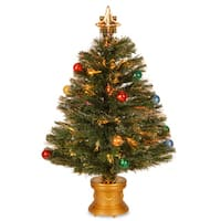 32-inch Fiber Optic Fireworks Red, green, blue, and Gold Fiber Inner Ornament Tree with Top Star