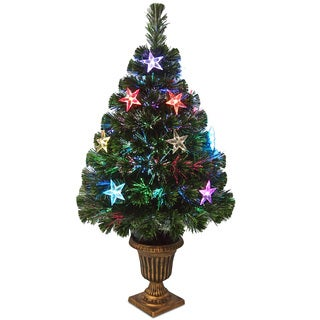 36-inch Fiber Optic Evergreen Firework with Multi LED Stars in Urn-CUL