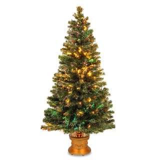 60-inch Fiber Optic Evergreen Firework Tree with Gold Base