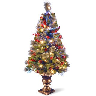 4-foot Fiber Optic Crestwood Spruce Tree with Cones, glitter, red Berries in Gold Pot