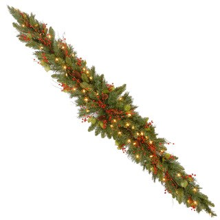 6-foot Classical Collection Mantel Swag with Red Berries, Cones, Holly Leaves and 50 Clear Lights