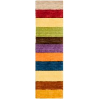 Safavieh Handmade Himalaya Yellow/ Multicolored Stripe Wool Gabbeh Runner Rug (2'3 x 14')
