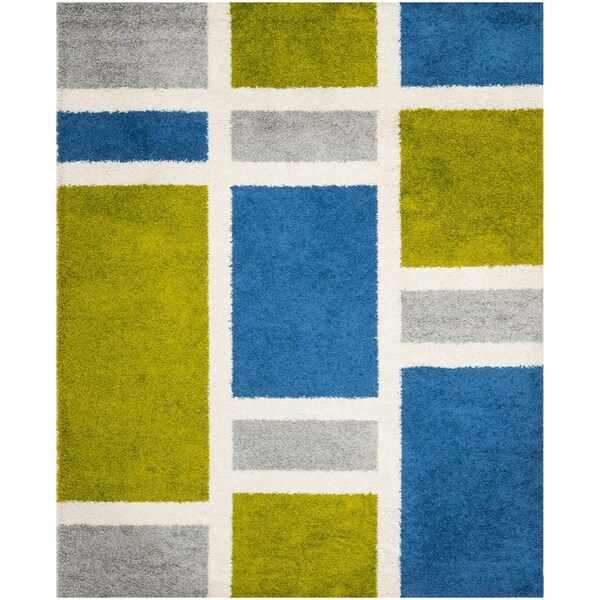 Safavieh Deco Shag Blue/ Green Squares Area Rug (9' x 12')