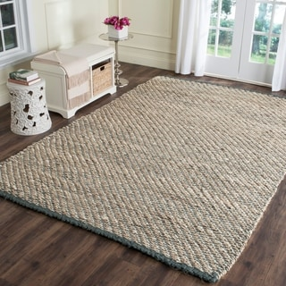 Safavieh Casual Natural Fiber Hand-Woven Blue / Natural Jute Rug (9' x 12')