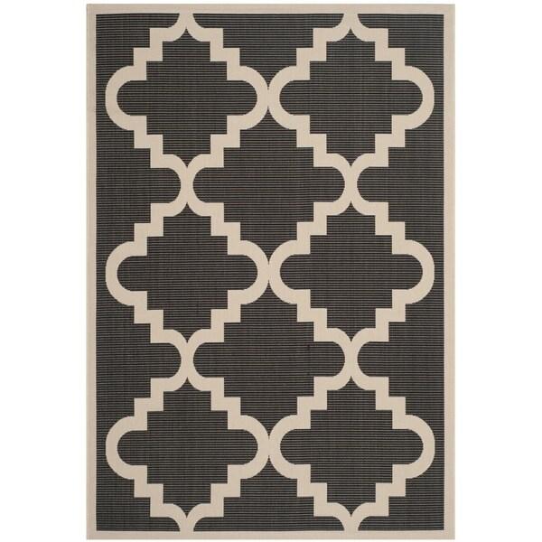 Safavieh Courtyard Moroccan Black/ Beige Indoor/ Outdoor Rug - 9' x 12'6