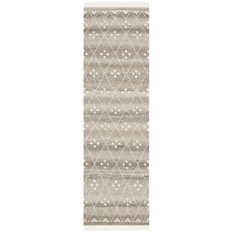 """Safavieh Hand-Woven Natural Kilim Natural/ Ivory Wool Rug - 2'3"""" x 12'"""
