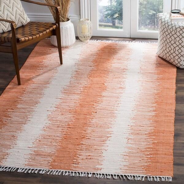 Safavieh Hand-woven Montauk Orange Cotton Rug - 9' x 12'