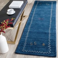 Safavieh Handmade Himalaya Blue Wool Gabbeh Runner Rug - 2'3 x 12'