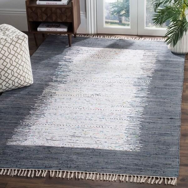 Safavieh Hand-woven Montauk Ivory/ Grey Cotton Rug - 9' x 12'