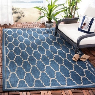 Safavieh Indoor/ Outdoor Moroccan Courtyard Navy/ Beige Rug (9' x 12'6)