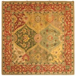 Safavieh Handmade Heritage Traditional Kerman Burgundy Wool Rug - 4' x 4' Square