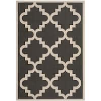 """Safavieh Courtyard Moroccan Anthracite/ Beige Indoor/ Outdoor Rug - 8' x 11'2"""""""