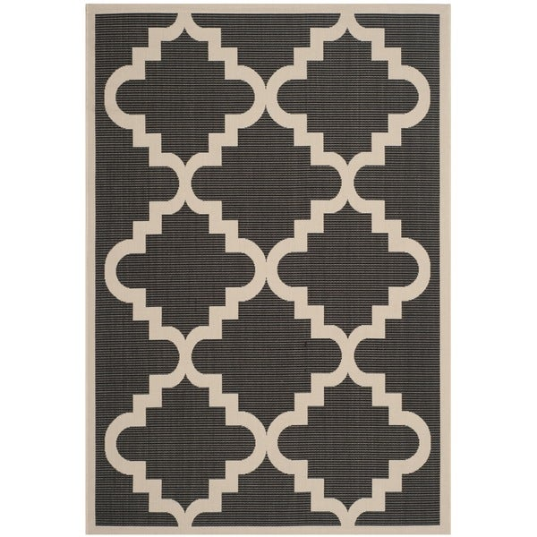 Safavieh Courtyard Moroccan Anthracite/ Beige Indoor/ Outdoor Rug - 8' x 11'2""