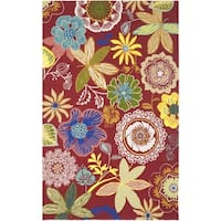 Safavieh Hand-Hooked Four Seasons Red/ Multicolored Rug - 6' x 9'