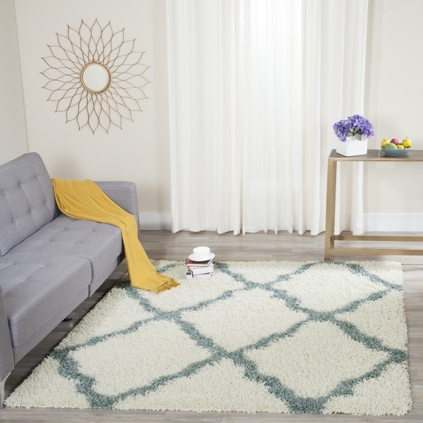 safavieh dallas shag ivory light blue trellis rug 8 39 x 10 39 free shipping today overstock. Black Bedroom Furniture Sets. Home Design Ideas