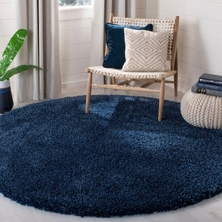 Safavieh California Cozy Solid Navy Shag Rug (4' Round)
