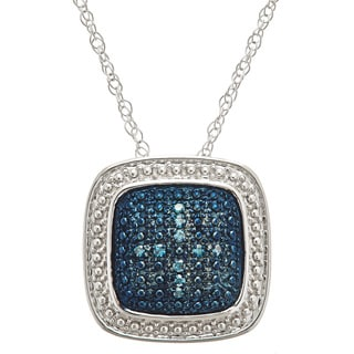 Sterling Silver Blue Diamond .06ct TDW Square Pendant Necklace