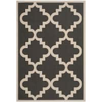 "Safavieh Courtyard Moroccan Anthracite Grey/ Beige Indoor/ Outdoor Rug - 5'3"" x 7'7"""