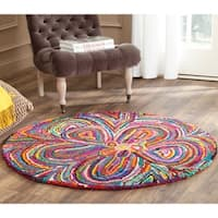 Safavieh Handmade Nantucket Abstract Floral Multicolored Cotton Rug - 4' Round