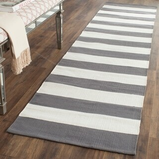 Safavieh Hand-woven Montauk Grey/ White Cotton Rug (2'3 x 9')