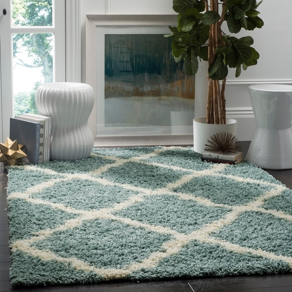 Safavieh Dallas Shag Light Blue/ Ivory Trellis Rug - 8' x 10'