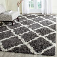 Safavieh Dallas Shag Dark Grey/ Ivory Trellis Rug - 8' x 10'