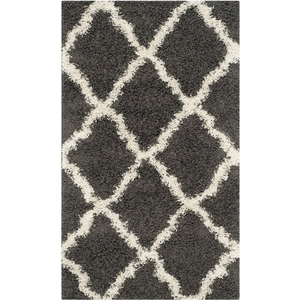 Safavieh Dallas Shag Dark Grey/ Ivory Trellis Rug (8' x 10')