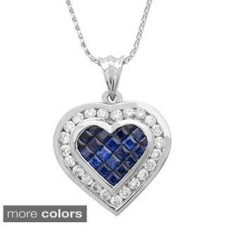 18k Gold 1 1/3ct TDW Diamond and Sapphire Pendant (G-H, SI1-SI2)